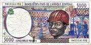 5000 Francs 'E'  Comeroon – avers