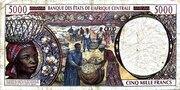 5000 Francs 'E'  Comeroon – revers