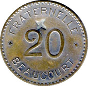 20 Centimes Fraternelle - Beaucourt [90] – revers