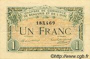 1 Franc - Chambre de Commerce de Beauvais et de l'Oise [60] – avers