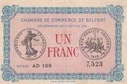 1 franc - Chambre de Commerce de Belfort [90] – avers