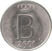 250 francs - Baudouin Ier - 25e anniversaire de l'intronisation (en français) -  revers
