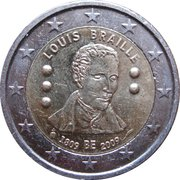 2 euros Louis Braille -  avers