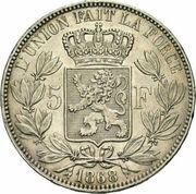 5 francs - Léopold II (grande tête) -  avers