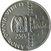 250 francs - Albert II - 70ème anniversaire de la reine Fabiola et 5ème anniversaire de la mort du roi Baudouin – revers