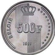 500 francs - 40ème anniversaire du règne du Roi Baudouin (en néerlandais) – revers