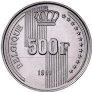 500 francs - 40ème anniversaire du règne du Roi Baudouin (en francais) – revers