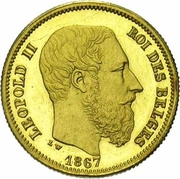 10 francs Or - Léopold II (tête nue) -  avers