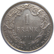 1 franc - Albert Ier (en néerlandais) -  revers
