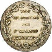 Module de 2 francs 25e Anniversaire de l'inauguration du Roi Léopold Ier (en Néerlandais) – revers