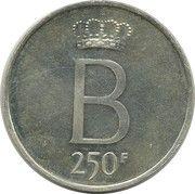 250 francs - Baudouin Ier - 25e anniversaire de l'intronisation (en néerlandais) – revers