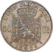 50 centimes - Léopold II - type Wiener (légende en Francais) -  avers