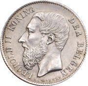 50 centimes - Léopold II - type Wiener (Légende néerlandaise) -  avers