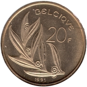 20 francs - Baudouin Ier (en français) -  revers