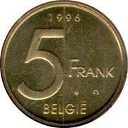 5 francs - Albert II (en néerlandais) -  revers