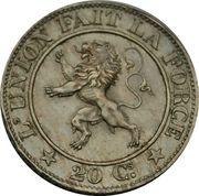20 centimes - Léopold Ier (cupronickel) -  revers