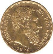 20 francs Or - Leopold II (tête nue) -  avers