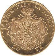 20 francs Or - Leopold II (tête nue) -  revers