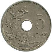 5 centimes - Albert Ier - type Michaux (en français, sans étoile) -  revers