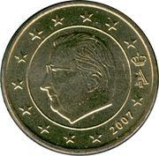 50 cents d'euro Albert II (2e carte, 1er type, 1ère effigie) – avers