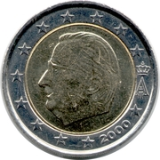2 euros Albert II (1ère carte, 1er type, 1ère effigie) -  avers