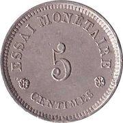5 centimes - Léopold I (Essai) – avers