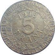 5 francs (Gent; occupation Allemande WWI) – revers