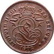 2 centimes - Léopold II (en français) -  avers