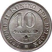 10 centimes - Léopold II (en néerlandais) – revers