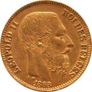 20 francs Or - Léopold II (grosse barbe) -  avers