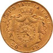 20 francs Or - Léopold II (grosse barbe) -  revers