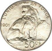 50 centimes - Léopold II - type lion assis (légende en français) – revers