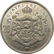 20 francs = 4 belga - Albert Ier (en français) -  avers