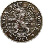 5 centimes - Léopold II - lion grand (en français) – avers