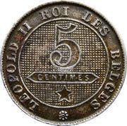 5 centimes - Léopold II - lion grand (en français) – revers