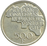 500 francs - 150 ans de l'indépendance de la Belgique (en néerlandais) -  revers