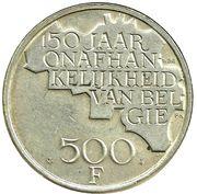 500 francs - 150 ans de l'indépendance de la Belgique (avers en français et revers en néerlandais) – revers