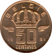 50 centimes - type Mineur (petite/très grande tête, en néerlandais) -  revers