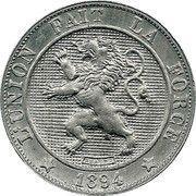 5 centimes - Léopold II - lion normal (en français) – avers