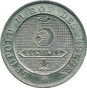 5 centimes - Léopold II - lion normal (en français) – revers