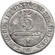 5 centimes - Léopold II - lion normal (en néerlandais) – revers