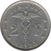 2 francs - Albert Ier - type Bonnetain (en français) -  revers
