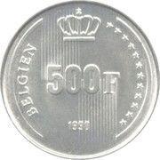 500 francs - 60ème anniversaire du Roi Baudouin (en allemand) – revers