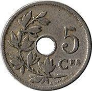 5 centimes - Léopold II - type Michaux (en français, grande date) -  revers