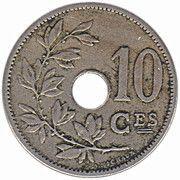10 centimes - Léopold II - type Michaux (en français, grande date) -  revers