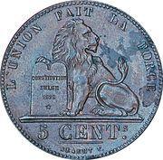 5 centimes - Léopold Ier -  revers