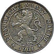 5 centimes - Léopold II - lion grand (en néerlandais) – avers