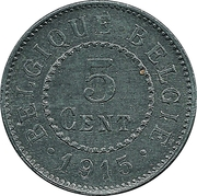 5 centimes - Albert Ier - Occupation -  revers