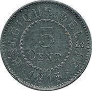 5 centimes - Albert Ier - Occupation -  revers