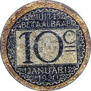 10 centimes en carton (Ville de Gand) – revers
